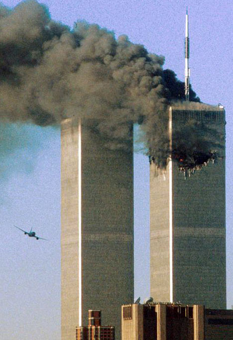 Terrorist-Hijacked Plane Hitting the World Trade Center