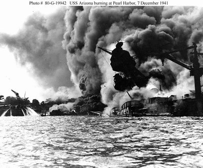 Attack of the USS Arizona - Pearl Harbor - December 7, 1941