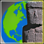 Cartoon graphic of earth with an Easter Island Statue in front.