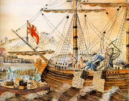 Painting of the Boston Tea Party