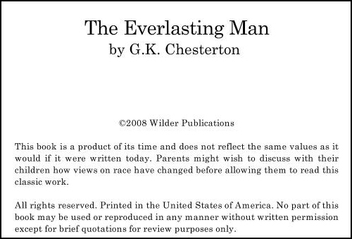 Title Page from Chesterton's The Everlasting Man