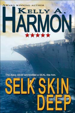 Cover of Selk Skin Deep by Kelly A. Harmon depicts a Navy Aircraft Carrier on a moonlit night.