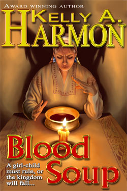 Cover of Blood Soup:  Witch sitting at a candle lit table, looking into a bowl of blood soup.