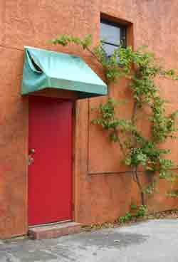 Red door with green awning over top.