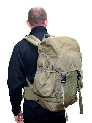 Man wearing a backpack, back to the camera.