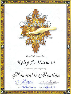Writers of the Future Honorable Mention Certificate