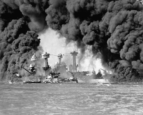 Bombing of the USS Arizona - Photo from the National Georgraphic Web Site