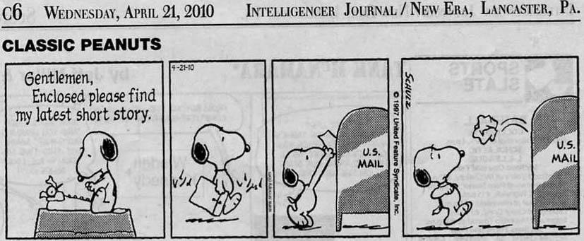 Classic Peanuts:  Snoopy's Manuscript Gets Rejected