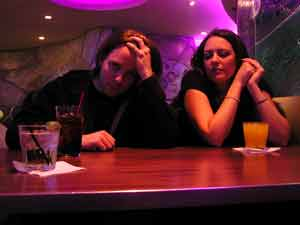 Couple in a bar having a bad date.