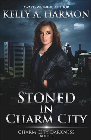 Cover of Stoned in Charm CIty by Kelly A. Harmon depicts a woman dressed in armor, leaning against a stone wall.