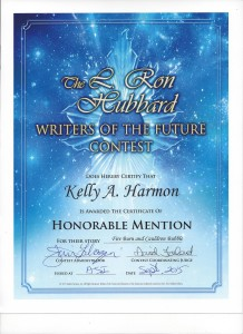 Certificate from Writers of the Future, denoting Honorable Mention for the Story Fire Burn and Cauldron Bubble.